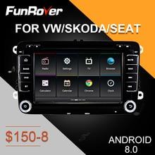 FUNROVER android9.0 car dvd multimedia gps for VW/Volkswage/POLO/Golf/Passat/CC/Tiguan/Fabia radio navigation navi autoradio RDS