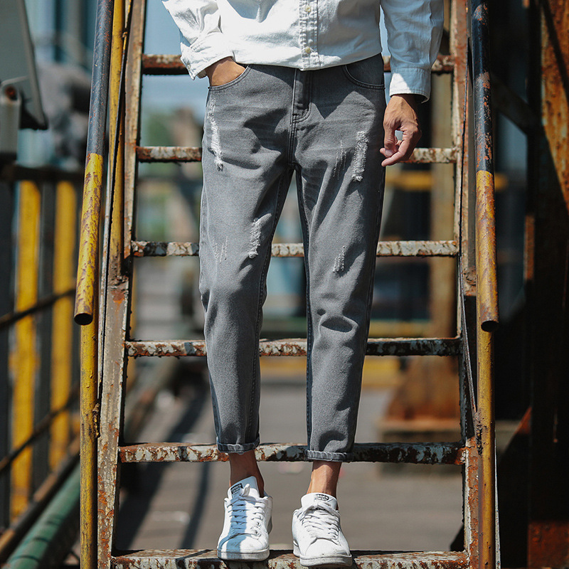 Short In Size Ripped Pants Straight-leg Pants Korean-style Trend Slim Fit Skinny Pants MEN'S Long Trousers