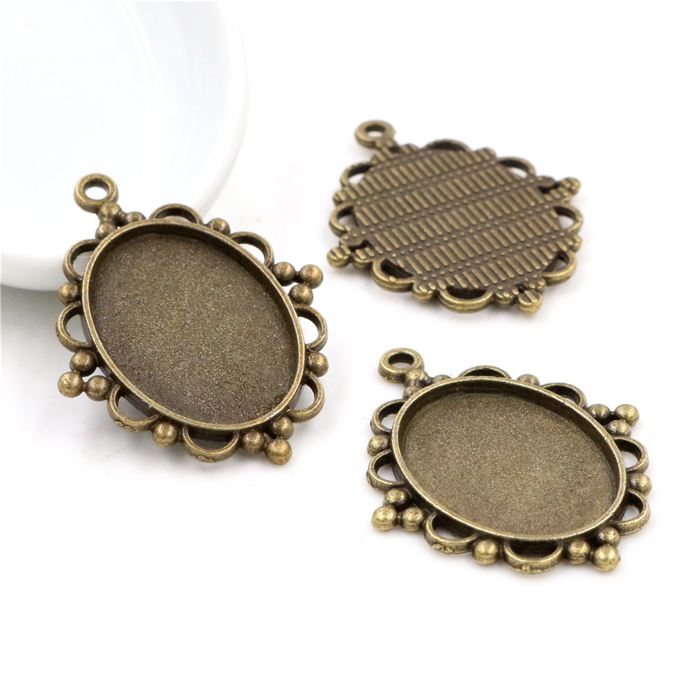 10pcs 18x25mm Inner Size Antique Bronze Flowers Style Cameo Cabochon Base Setting Charms Pendant Necklace Findings  (C3-11)