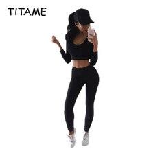 TITAME Women Two-Piece Sets Sports Suit Solid Color Long-Sle