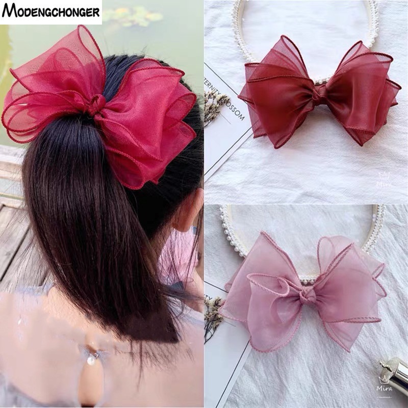 Fashion Four Layers Yarn Barrettes Bow Sequin Love Hair Clips Princess Hairgrip Side Clip Fairy Girl Sweet Lace Hair Accessories