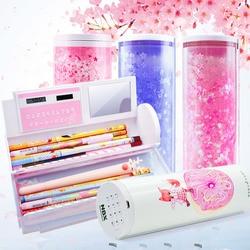 Estuche para lápices kawaii con contraseña bonita, caja de lápices multifuncional con calculadora para niños, suministros de oficina y escolares, papelería