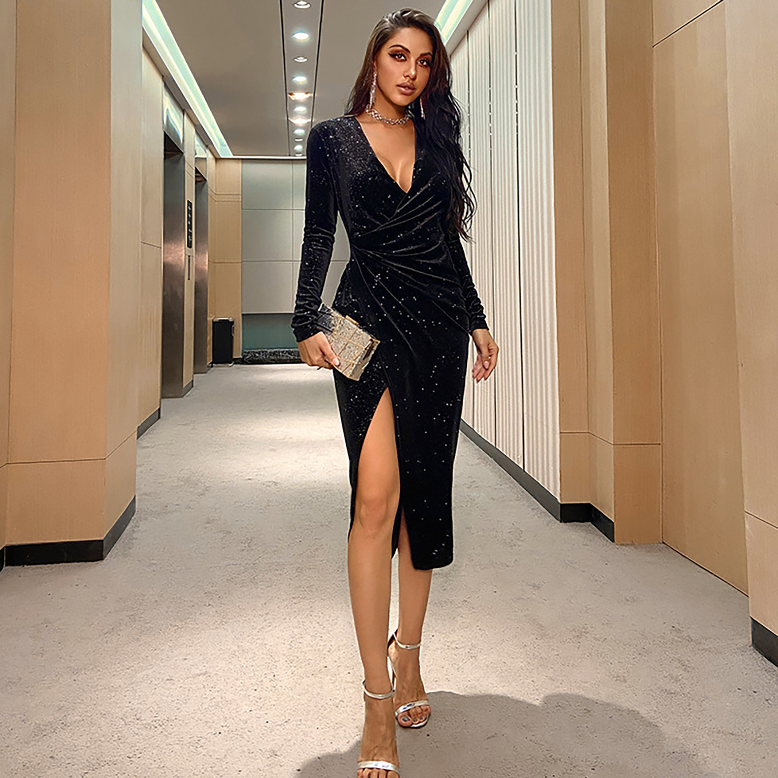 Sagace Fashion jednolity kolor, długi rękaw sukienka z dekoltem w serek asymetryczna strona eleganckie sukienki Split jesień Mock Neck elegancka sukienka