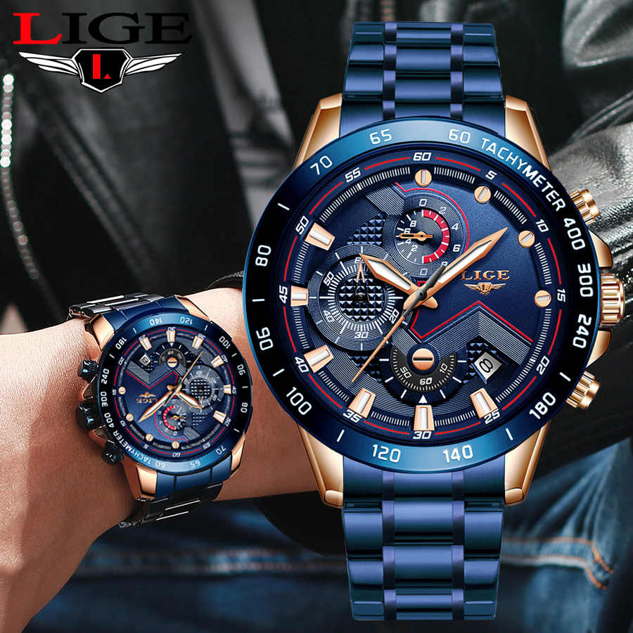 LIGE Business Men Watch Luxury Brand Stainless Steel Wrist Watch Chronograph Army Military Quartz Watches Relogio Masculino