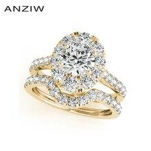 ANZIWแฟชั่น925เงินสเตอร์ลิงแหวนหมั้นชุด1กะรัตสีเหลืองทองสีLadyเจ้าสาวชุดแหวนเครื่องประดับของขวัญ