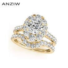 ANZIW 패션 925 스털링 실버 여성 약혼 반지 세트 1 캐럿 옐로우 골드 컬러 레이디 신부의 반지 세트 보석 선물