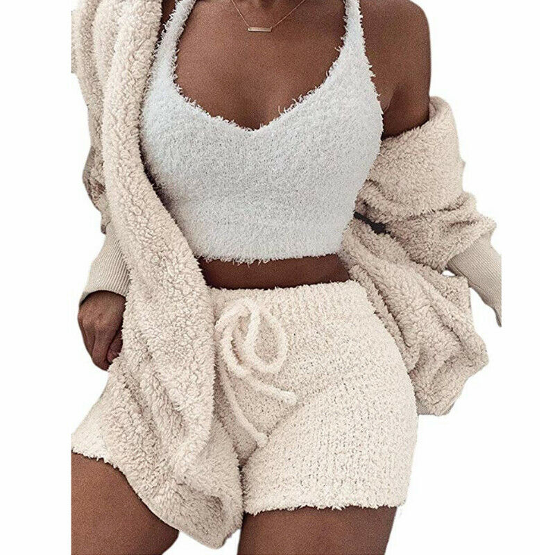 Women Solid Color Plush Hooded Open Front Cardigan Coat Autumn Casual Loose Warm Sweater Coat+Shorts Set 2PCS Streetwear Set