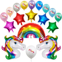 Regenboog Eenhoorn Folie Air Ballon Gelukkige Verjaardag Party Wegwerp Servies Latex Bal Confetti Bruiloft Decoraties Kids Banner(China)