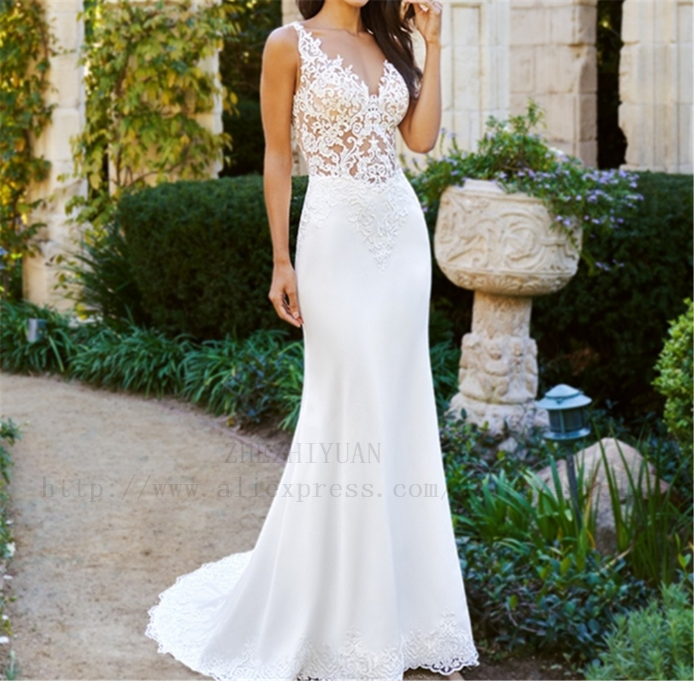 New Arrivals Illsion White Lace And Satin Deep V-neck Robe De Mariage Appliques Beading Court Train Satin Wedding Dress