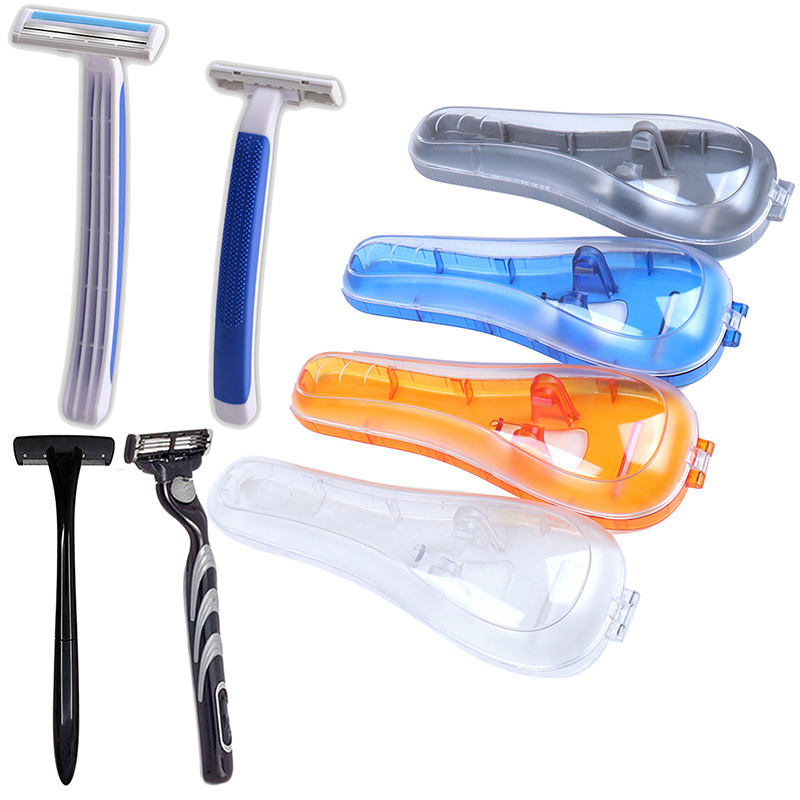 1 PC Portable Blue Travel Portable Men's Razor Blades Holder Box Shaver Holder Box Case Shaving Machine