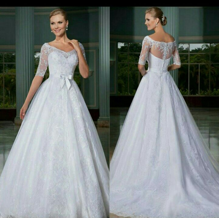Hot Sale A-line Quality Made Half Sleeve Lace Wedding Dress Wedding Gown