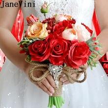 Janevini букет из красных искусственных шелковых цветов для
