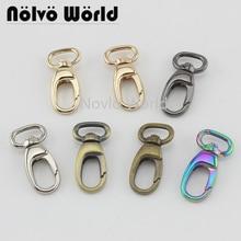 10 50pcs 7 색 13*37mm 작은 방아쇠 스냅 걸이 걸쇠 금속 클립 회전 개 가죽 끈 작은 핸드백 지갑 조정 된 결박 걸이