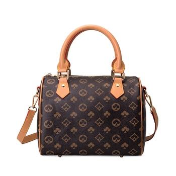2020 New Luxury brand design Women Handbags Female Boston pillow Bag Shoulder Bag Vintage Crossbody Messenger bags for women - Brown, S