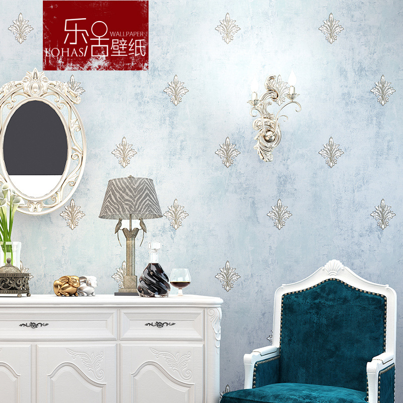 Retro Nostalgic Village Nonwoven Fabric European Style Wallpaper Blue Living Room Bedroom Entrance TV Backdrop American-Style Wa
