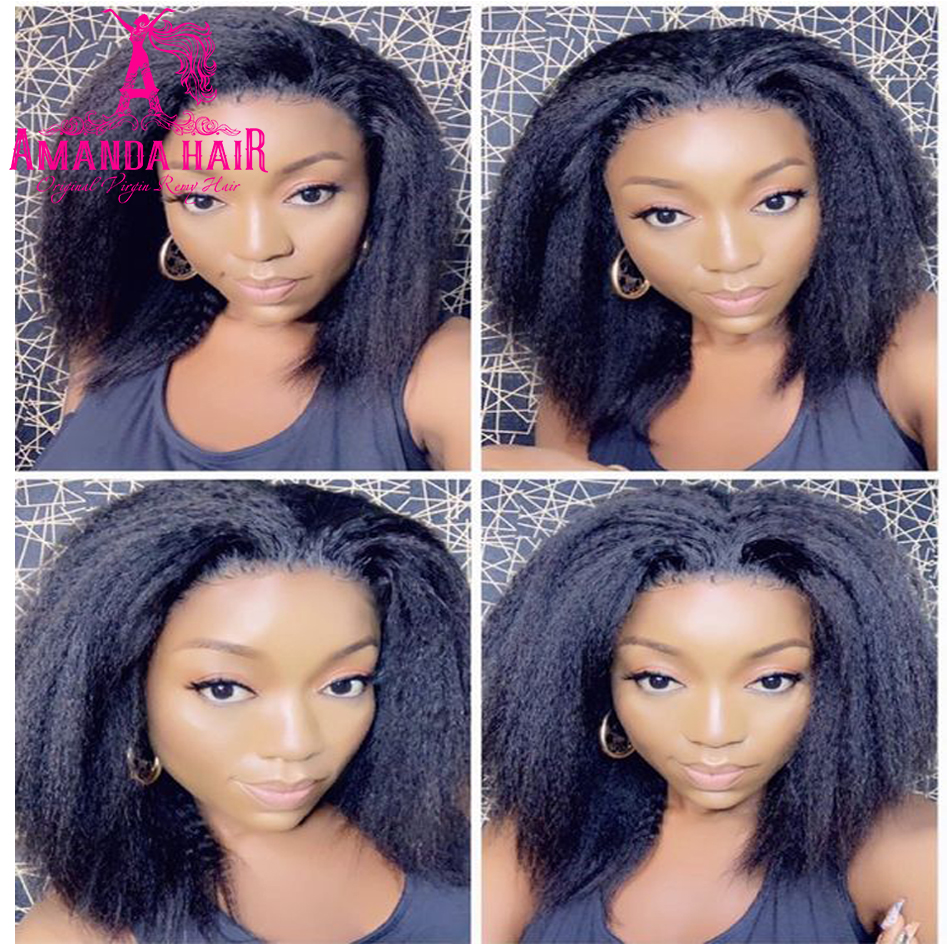 Kinky Straight Wig Short  Wigs  13x4 Lace Front Cheap Yaki  Wig 4*4 Bob Lace Closure Wig  3