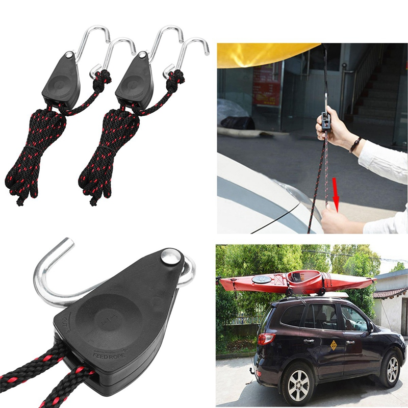 Pulley Ratchets Kayak And Canoe Boat Bow And Stern Rope Lock Tie Down Strap 1/8 Inch Duty Adjustable Rope Hanger( 2 PCS)