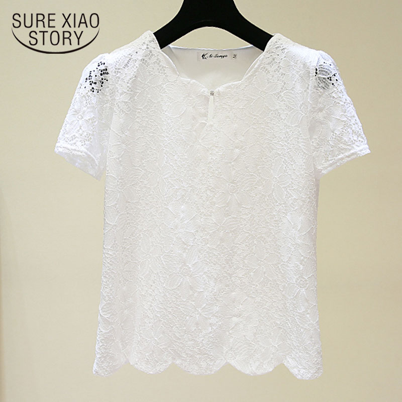 2020 Summer New Plus Size Short Sleeve Lace Chiffon Blouse Women Korean Version Solid Loose Office Lady Women Blouses 4805 50