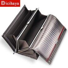 Dicihaya couro genuíno carteira das mulheres multifunction carteiras marca bolsas carteira femme billetera titular do cartão saco de telefone