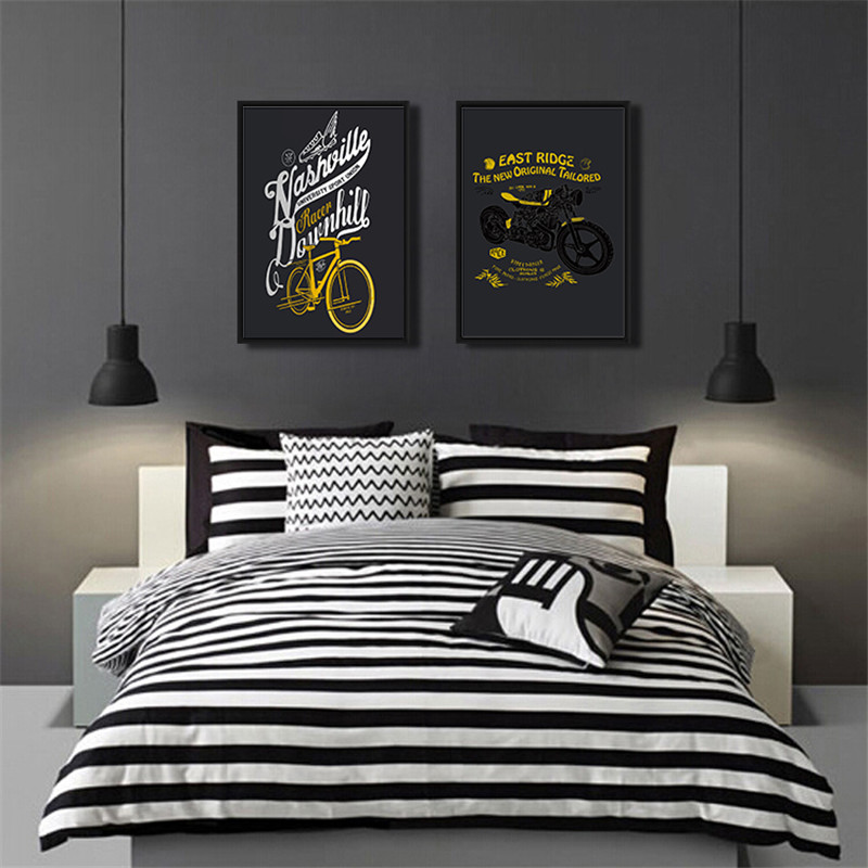 Modern-Fashion-Letter-Nordic-Ganvas-Painting-Home-Decor-Wall-Art-Bicycle-motorcycle-Print-Living-Room-Picture