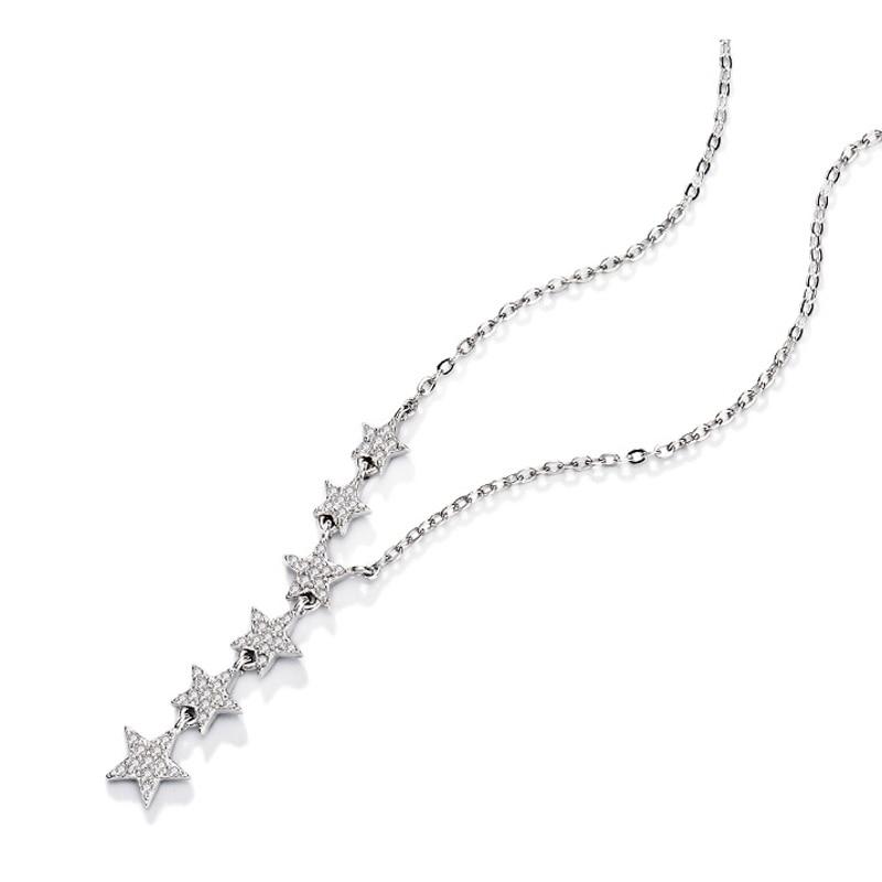 Elegant 925 Sterling Silver Shiny Zircon Star Choker Silver Simple Gift For Girls Necklace Women Party Female Fine Jewelry NK002