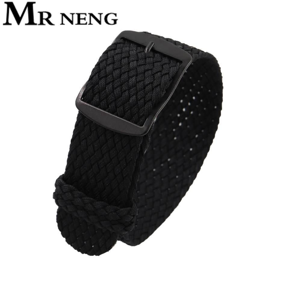 2020 New Soft Breathable Nylon Polyester Watch Strap Sport Bracelet Strap18MMm For Perlon Black Buckle Watchband 22 20mm