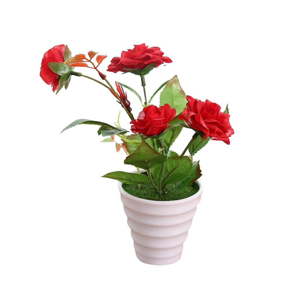 Пластиковые искусственные цветы с розами искусственный бонсаи цветы поддельные цветы вечерние Свадебные украшения Аксессуары для ванной комнаты - Цвет: Красный
