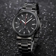 Brand Mens Watches Quartz Watch with Stainless Steel Strap Chronograph Business Mens Watchses relojes hombre 2019(China)