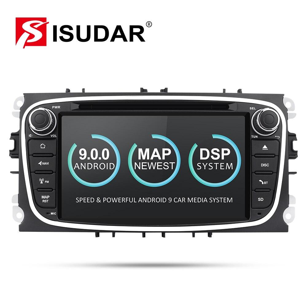 Isudar Автомобильный мультимедийный плеер Android 9 gps автомобильный dvd плеер с двумя цифровыми входами для FORD/Focus/S MAX/Mondeo/C MAX/Galaxy wifi Автомобильный компактное минирадио DVR