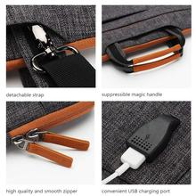 DOMISO 11 13 14 15.6 17.3 Inch Multi-Functional Laptop Sleeve Business Briefcase Messenger Bag with USB Charging Port Brown Grey