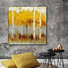 Laeacco Canvas Painting Calligraphy Abstract Graffiti Yellow Trees Watercolor Natural Posters and Prints Home Living Room Decor