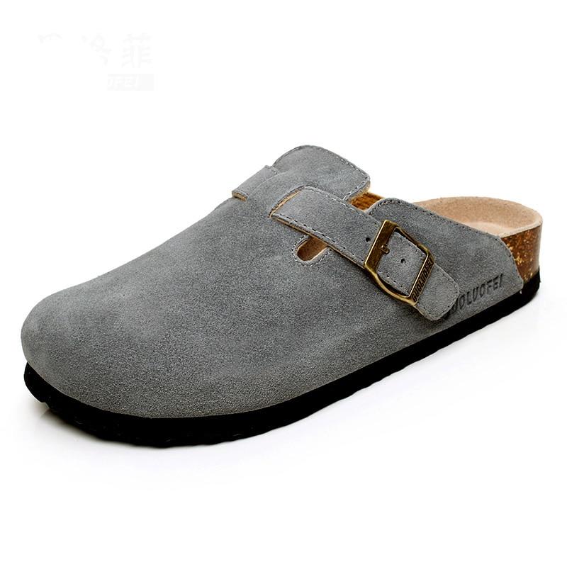 2020 Summer Men's Closed Toe Slippers New Suede Leather Clogs Sandals For Men Women Garden Clog Slides Unisex Big Size 35-46