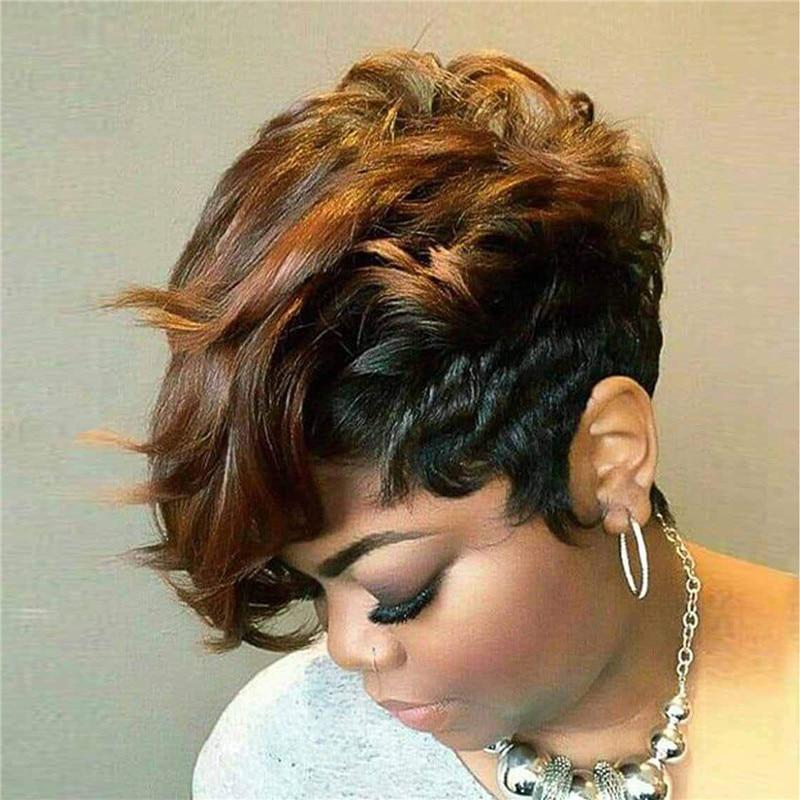 Женские волосы с вырезами фальшивые короткие синтетические коричневые винные парики естественный вид термостойкие волосы парик для черны...