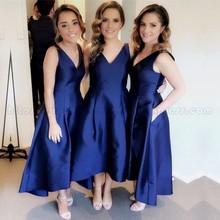 Elegant Navy Bridesmaid Dresses A-Line V Neck Wedding Guest 2019