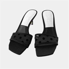 2020 New Summer Sexy Women Med heel Slide Sandals Black Polka Dot Air mesh  Female Slippers Outside