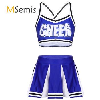 Womens Girls Carnival Cheerleader Costume Back Crossed Crop Top with High Waist Mini Pleated Skirt Cheerleading Uniform Outfit girls geometric print top with solid skirt