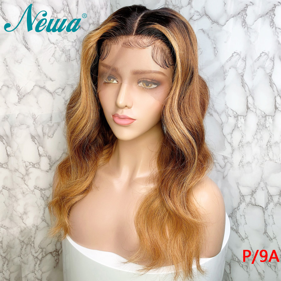 Newa Hair Ombre Lace Front Human Hair Wigs 13x6 Body Wave Blonde Lace Front Wig Pre Plucked With Baby Hair 150% Remy Hair Wigs