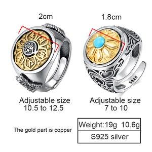 Image 2 - ZABRA 925 סטרלינג כסף ספין טבעת לגברים נשים פתוח גודל 2 אפשרויות בודהה שש מילות חותם טבעת בציר רוק תכשיטים