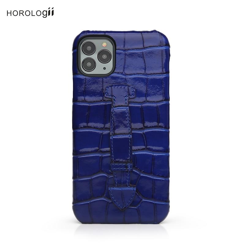 Horologii Luxus Handy Fall für Iphone 7 8 10 X XR 11 12 mit Finger Halter Griff an Der zurück Croco Muster Dropship