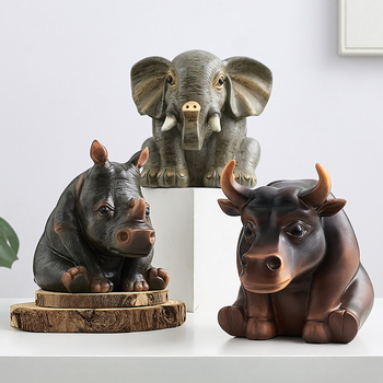 Elephant Hippopotamus Arts Sculpture Decoration Abstract Animal Sculpture Rhino Statue Creative Home Decor Resin Crafts R4493