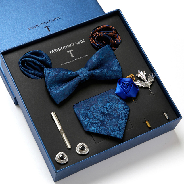 Gentlemen's Luxury Set - Bowtie Tie, Tie, Clips Lapel Pin, Hanky & Cufflink 5