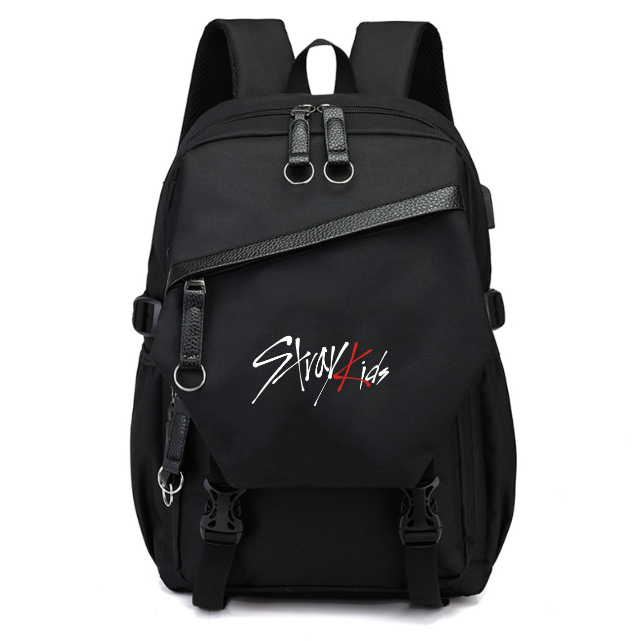 Korean KPOP Stray kids Backpack Fashion Black traveling school bags Large capacity Polyester colth Kpop stray kids supplies