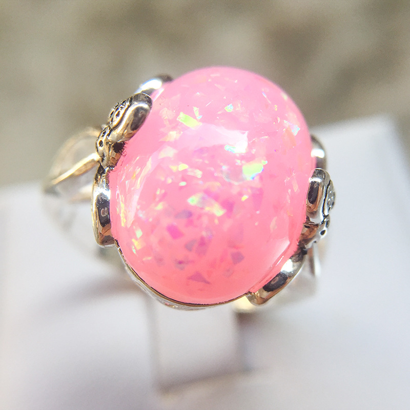 Trendy Vintage Blue/Pink/White Opal Ring For Women Simple Stylish Finger Rings With Big Stone Jewelry Anel Feminino Ball Party