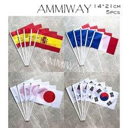 Ammiway bandeira impressa em poliéster 14x21cm, 5 peças, espanha, frança, francês, coréia do sul, ondulação manual bandeira para a celebração