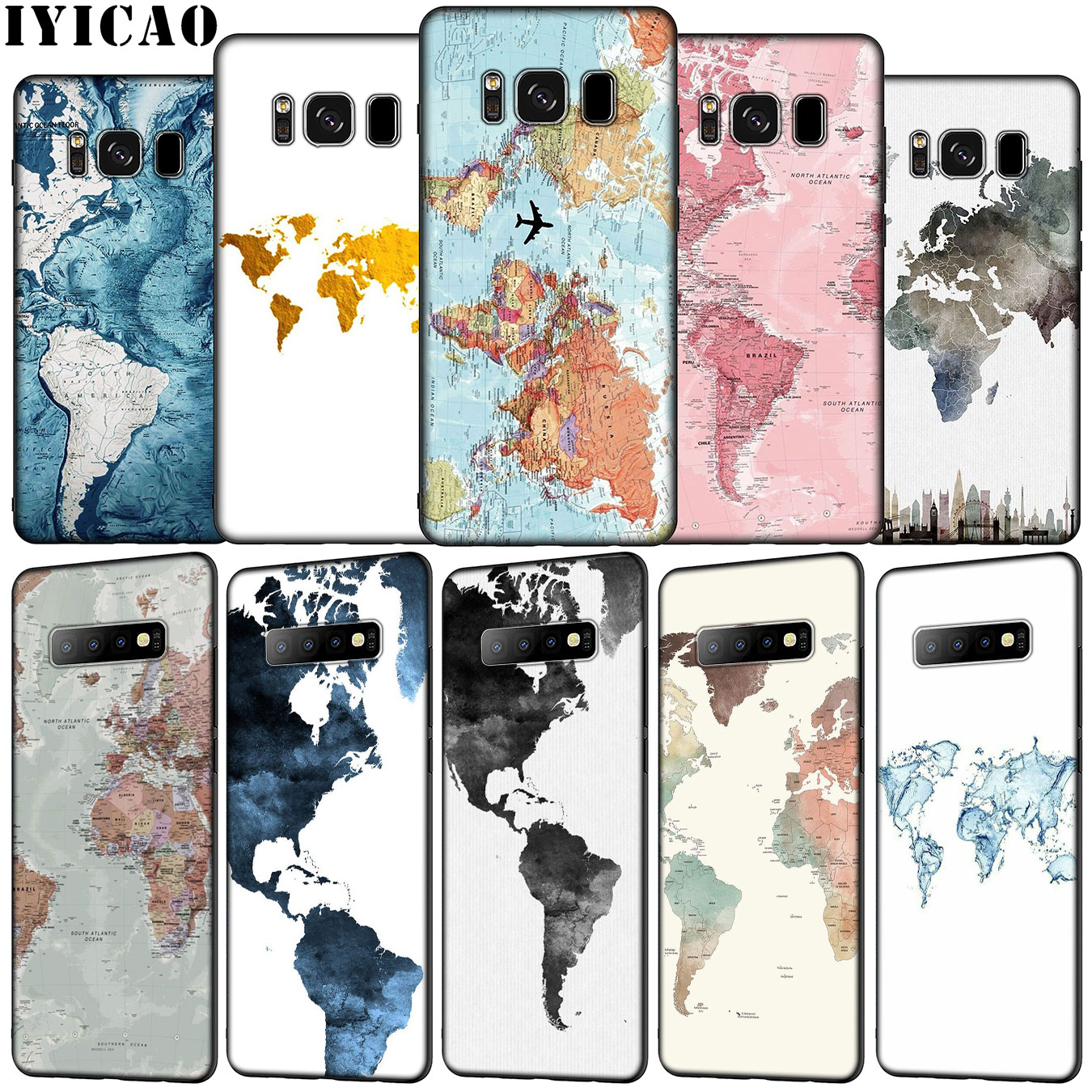 IYICAO World Map Travel Plans Soft <font><b>Silicone</b></font> Phone <font><b>Case</b></font> for <font><b>Samsung</b></font> Galaxy S20 Ultra S10e S9 S8 Plus S6 <font><b>S7</b></font> <font><b>Edge</b></font> S10 Lite Cover image
