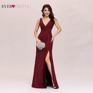 Image 1 - Form Váy Đầm Dạ 2020 Bao Giờ Xinh Xắn Gợi Cảm Một Dòng Chữ V Hở Lưng Gillter Dài Đảng Đồ Bầu Có Chia Năm Mới áo Dây De Soiree