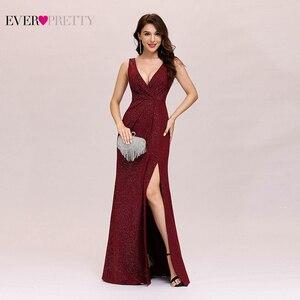 Image 1 - Formalne suknie wieczorowe 2020 kiedykolwiek całkiem seksowna linia V Neck Backless Gillter długie suknie na imprezę z Split nowy rok Robe De Soiree