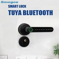Smogoe Electronic Smart Door Lock Bluetooth Tuya Lock Wifi Gateway Support Fingerprint Phone Key Unlock Electric Handle