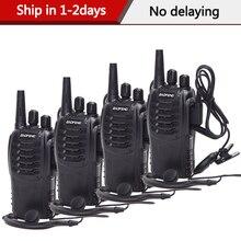 2/4Pcs BF888S BF 888S Baofeng Walkie Talkie UHF Rádio Em Dois Sentidos Handheld Comunicador de Rádio 888S Transmissor Transceptor + fones de ouvido