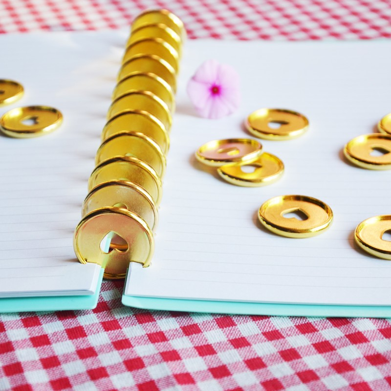 50pcs 35mm Mushroom Hole Book Binding Gold Disc Binding Paper Ring Binder Loose-leaf Plastic Ring A4 Binder A5 Binder